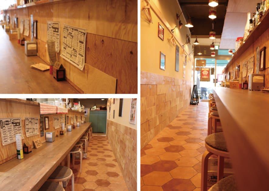 COVA酒場 カウンターと床のデザイン